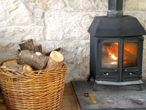 A roaring log fire